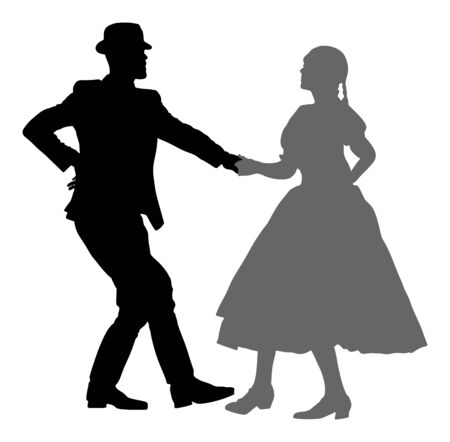 Hungarian folk dancers couple vector silhouette. Germany folk dancers couple in love. Austrian folk dancers couple. East Europe folklore. Balkan folk dancing. Traditional wedding folklore event. Banque d'images - 128226204