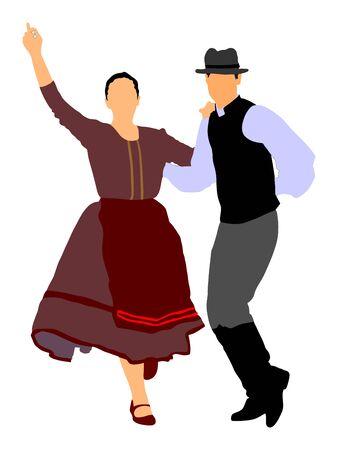 Ilustración de vector de pareja de bailarines folclóricos húngaros. Pareja de bailarina folclórica de Alemania en el amor. Pareja de bailarines folclóricos austriacos. Folclore de Europa del Este. Baile folclórico balcánico. Evento tradicional de folclore de bodas.