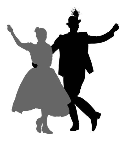 Hungarian folk dancers couple vector silhouette. Germany folk dancers couple in love. Austrian folk dancers couple. East Europe folklore. Balkan folk dancing. Traditional wedding folklore event. Banque d'images - 128226201