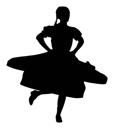 Csardas dancer vector silhouette illustration. Folklore of Hungary. Bavarian woman on octobarfest. Polka dance performer. Balkan folk dance. Europe traditional festival attraction.
