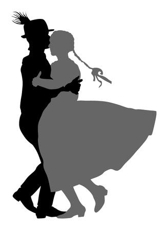 Hungarian folk dancers couple vector. Germany folk dancers couple. Austrian folk dancers couple. East Europe folklore. Couple in love dancing Balkan folk.  イラスト・ベクター素材