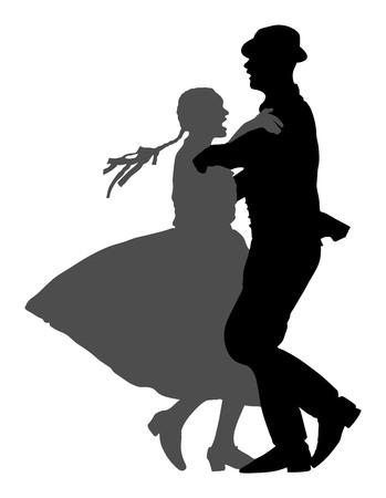 Hungarian folk dancers couple vector. Germany folk dancers couple. Austrian folk dancers couple. East Europe folklore. Couple in love dancing Balkan folk. Illusztráció