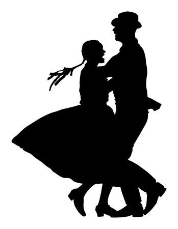 カップル ダンサーのシルエット。  イラスト・ベクター素材