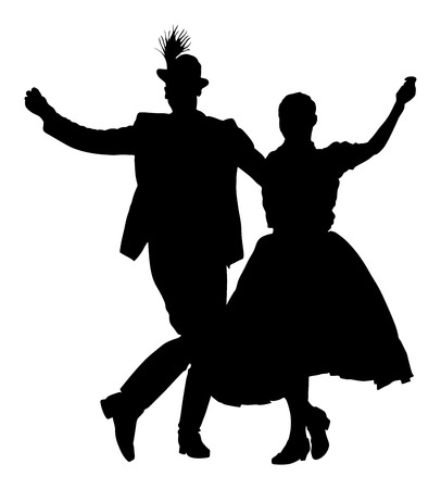 Couple dancer silhouette. 向量圖像