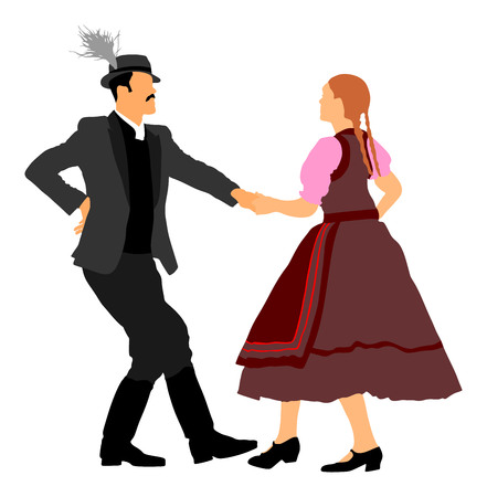 Hungarian folk dancers couple vector. Germany folk dancers couple. Austrian folk dancers couple. East Europe folklore. Couple in love dancing Balkan folk. Illustration