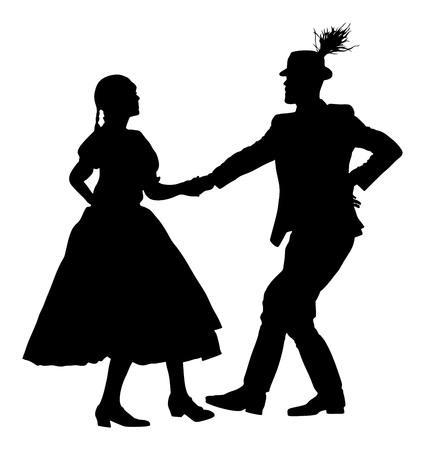 Csardas dancers couple silhouette. Folklore of Hungary. Ilustração