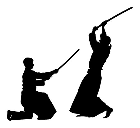 Aikido fighter silhouette illustration. Training action. Self defense, defence art excercising concept. Aikido instructor demonstrate skill with katana.