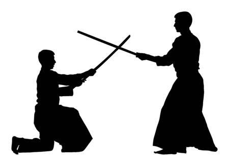 Fight between two aikido fighters vector silhouette symbol illustration. Sparring on training action. Self defense, defence art exercising concept. Vektorové ilustrace