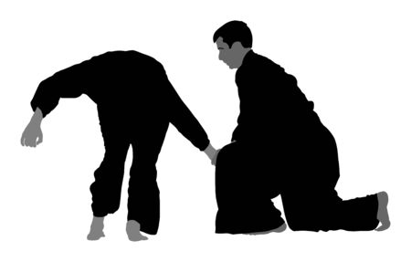 Fight between two aikido fighters vector symbol illustration. Sparring on training action. Self defense, defence art excercise concept. Karate and aikido fighters. Traditional warriors skills.
