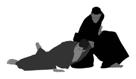 Fight between two aikido fighters vector symbol illustration. Sparring on training action. Self defense, defence art excercise concept. Karate and aikido fighters. Traditional warriors skills. Vektorové ilustrace