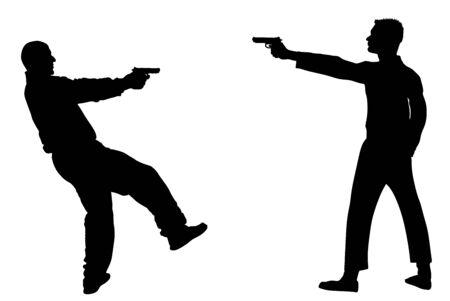 Escena del crimen público, tiroteo. Hombre con arma de fuego en oponente en silueta de vector de calle. Situación de conflicto. Disparo de armas. agente secreto de la policía cerrando contra miembro de la mafia. arresto policial. Ilustración de vector