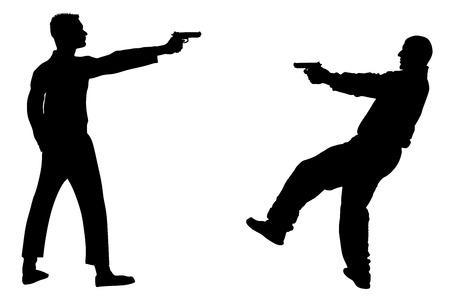Public crime scene, gunfight battle. Man with gun shooting in opponent on the street vector silhouette illustration. Vectores