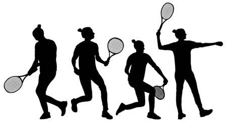 Frauentennisspieler-Vektorschattenbild lokalisiert auf weißem Hintergrund. Sporttennisschatten isoliert. Erholungspose. Mädchen spielen Tennis. Aktives Damen-Hobby-Training nach der Arbeit. Anti-Stress-Wurm.