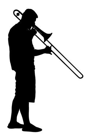 Trombone player vector silhouette illustration. Music man play instrument on street.