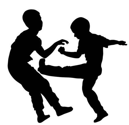 Dos niños peleando ilustración vectorial. Dos hermanos jóvenes luchan contra la silueta del vector. Terror de niño enojado. Golpes callejeros y puñetazos después de la escuela. Bully abusó del niño vecino. Comportamiento problemático del niño. Ilustración de vector