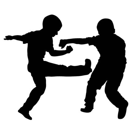 Two boys fighting vector illustration. Two young brothers fight vector silhouette. Angry kid terror. Street hitting and punching after school. Bully abused neighbor kid. Child problematic behavior.