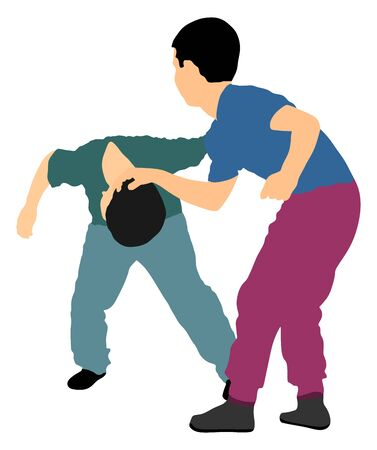 Two boys fighting vector illustration. Two young brothers fight vector illustration. Angry kid terror. Street hitting and punching after school. Bully abused neighbor kid. Child problematic behavior. Stock Illustratie