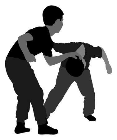 Two boys fighting vector silhouette. Two young brothers fighting vector silhouette illustration. Angry kid terror. Street hitting and punching after school. Çizim