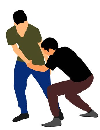 Two boys fighting vector illustration. Two young brothers fight vector illustration. Angry kid terror. Street hitting and punching after school. Bully abused neighbor kid. Child problematic behavior. Ilustracja