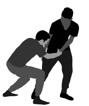 Zwei Jungen, die Vektorillustration kämpfen. Zwei junge Brüder kämpfen Vektorillustration. Wütender Kinderterror. Schlagen und Schlagen auf der Straße nach der Schule. Mobber missbrauchtes Nachbarkind. Problematisches Verhalten des Kindes.
