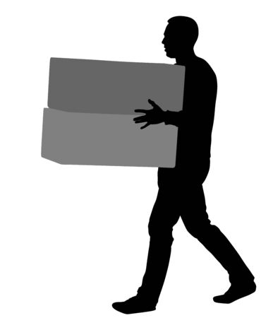 Delivery man carrying boxes of goods. Post man with package . Distribution and procurement. Boy holding heavy package for moving service. Handy man walking in move action. Hand transportation method. Ilustração