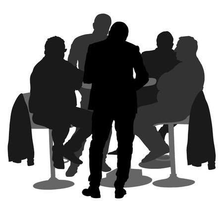 Many people sitting and talking vector silhouette illustration. Friends drinking in bar after work. Poker event. Night club guests. Secret agent on duty spy gangsters. Men shadows.