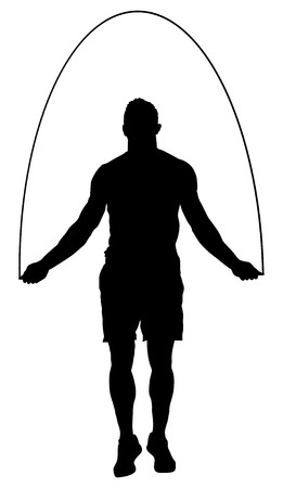 Sportsman skipping with jump rope vector silhouette illustration . fitness, sport, exercising and lifestyle concept. Athlete skipping rope. Fitness Workout. Healthy Athletic Man With Muscular Body. Vector Illustration