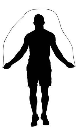 Sportif sautant avec illustration de silhouette vecteur corde à sauter. concept de fitness, sport, exercice et style de vie. Corde à sauter d'athlète. Entraînement de remise en forme. Homme Athlétique Sain Avec Corps Musclé.