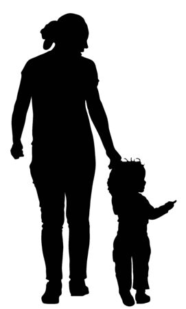 Mother teaching baby to walk, vector silhouette isolated on background. First steps in life. Parent support child. Mom love little boy. Babysitter care about baby. Young woman and son happy family.