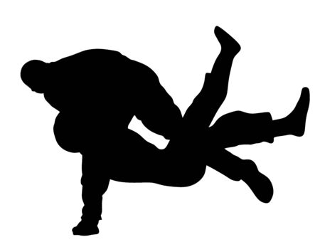 Self defense battle vector silhouette. Man fighting against aggressor on street. Krav maga demonstration in real situation. Combat for life against terrorist. Army skill in action. policeman arrest. Illustration