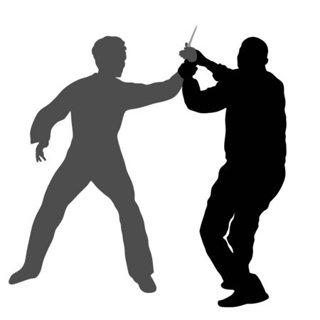 Self defense battle vector silhouette. Man fighting against aggressor with knife. Krav maga demonstration in real situation. Combat for life against terrorist. Army skill in action. policeman arrest.