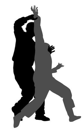 Auto-défense, bataille, vecteur, silhouette, illustration. Homme qui lutte contre l'agresseur avec un couteau. La démonstration de Krav maga en situation réelle. Combattez pour la vie contre le terroriste. Compétence de l'armée en action.