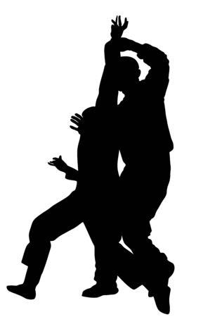 Selbstverteidigungskampf-Vektor-Silhouette. Mann, der mit Messer gegen Angreifer kämpft Krav Maga-Demonstration in realer Situation. Kampf auf Lebenszeit gegen Terroristen. Armee-Fähigkeit in Aktion. Polizist festgenommen. Vektorgrafik