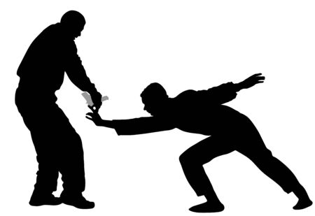 Self defense battle vector illustration. Man fighting against aggressor with gun or pistol. Krav maga demonstration in real situation. Combat for life against terrorist. Army skill action. Policeman.