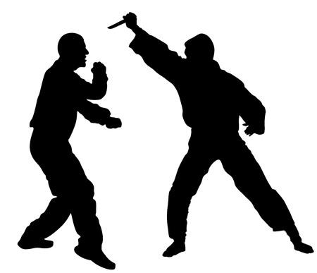 Zelfverdediging strijd vector silhouet illustratie. Man vechten tegen agressor met mes. Krav maga demonstratie in echte situatie. Bestrijding voor het leven tegen terroristen. Leger vaardigheid in actie.