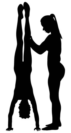 Young girl doing cartwheel exercise wit help of coach. Sport athlete woman in handstand position vector silhouette illustration. Standing on hand pose. Hand stand acrobatics. Personal trainer in gym.