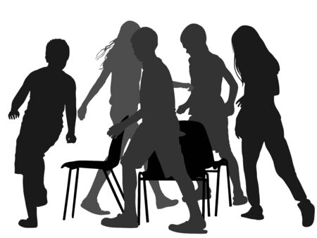 Children playing music chair game, vector silhouette illustration. Happy birthday animation. Kids run around playing musical chairs game. Fun activity teenager.