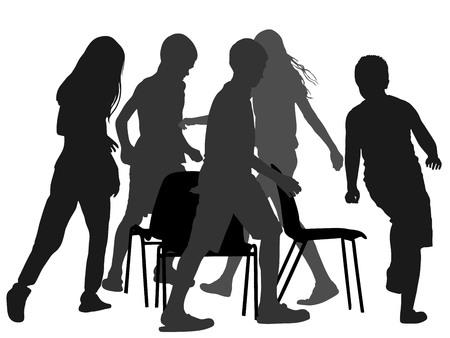 어린이 음악 의자 게임, 벡터 실루엣 그림을 재생합니다. 생일 축하 애니메이션. 아이들은 음악 의자 게임을하며 뛰어 다니고.