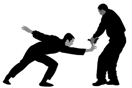 Self defense battle vector silhouette illustration. Man fighting against aggressor with gun. Krav maga demonstration in real situation. Combat for life against terrorist. Army skill in action. Illustration
