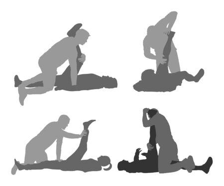 Fisioterapista e paziente che si esercitano nel centro di riabilitazione, siluetta di vettore. Il medico sostiene lo sportivo durante il trattamento di fisioterapia. Massaggio di esercizi fisici e chiropratica. Assistenza sanitaria.