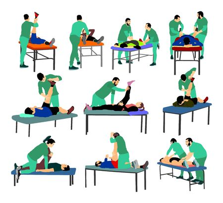 Physiotherapist and patient exercising in rehabilitation center, vector illustration. Doctor supports sportsman during physiotherapy treatment. Physical exercises massage and chiropractic Vector Illustration