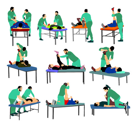 Physiotherapist and patient in rehabilitation center vector. Doctor supports sportsman during physiotherapy treatment. Physical exercises, back massage and chiropractic. Lying on massage table enjoy.