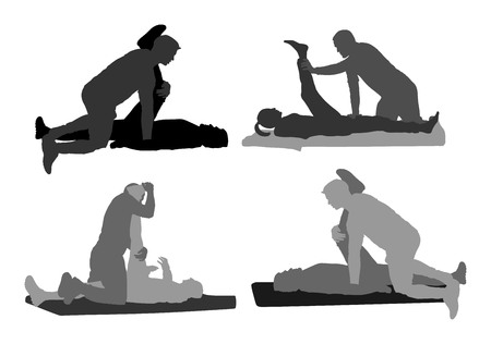Physiothérapeute et patient exerçant dans le centre de réadaptation, vector illustration silhouette. Le docteur soutient le sportif pendant le traitement de physiothérapie. Exercices physiques de massage et de chiropratique