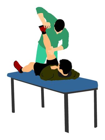 Fisioterapeuta y paciente haciendo ejercicio en el centro de rehabilitación, ilustración vectorial. El médico apoya al deportista durante el tratamiento de fisioterapia. Ejercicios físicos masaje y quiropráctica. Cuidado de la salud.
