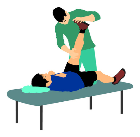 Physiotherapist and patient exercising in rehabilitation center, vector illustration. Doctor supports sportsman during physiotherapy treatment. Physical exercises massage and chiropractic