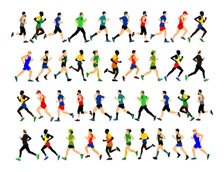 Groupe de coureurs de marathon en cours d'exécution. Illustration vectorielle de gens de marathon. Femmes et homme de mode de vie sain Course sportive traditionnelle. Coureurs urbains dans la rue. Concept de renforcement d'équipe. Passe-temps de sport de sportif