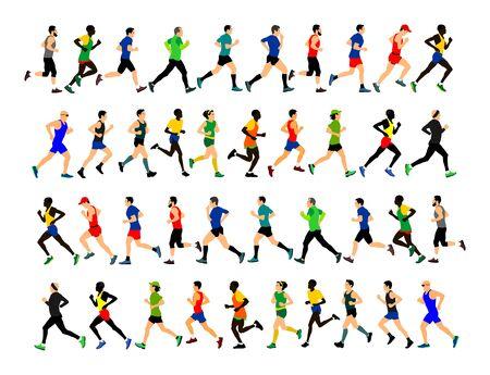 Gruppo di maratoneti in esecuzione. Illustrazione di vettore di persone maratona. Donne e uomini di stile di vita sano Gara sportiva tradizionale. Corridori urbani sulla strada. Concetto di team building. Sportivo hobby sportivo