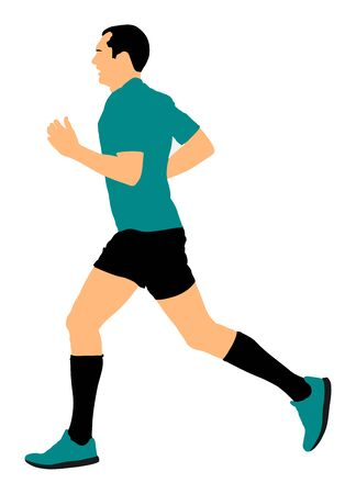 Marathon racer running. Exercise people vector illustration. Healthy lifestyle man. Sport race. Urban runner on the street. Healthcare concept. Jogging after stressful work day. Health young man.
