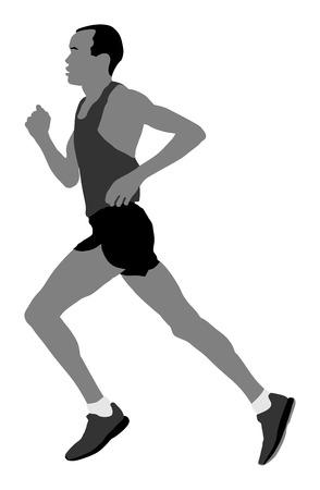 Marathon runner vector silhouette illustration.