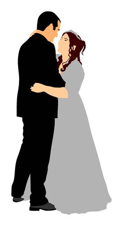 Groom and bride wedding day, in dress and suit vector illustration. Young wedding couple in love. Happy bride and groom after wedding ceremony. Just married couple in love. Sweet closeness and ceremony  day.
